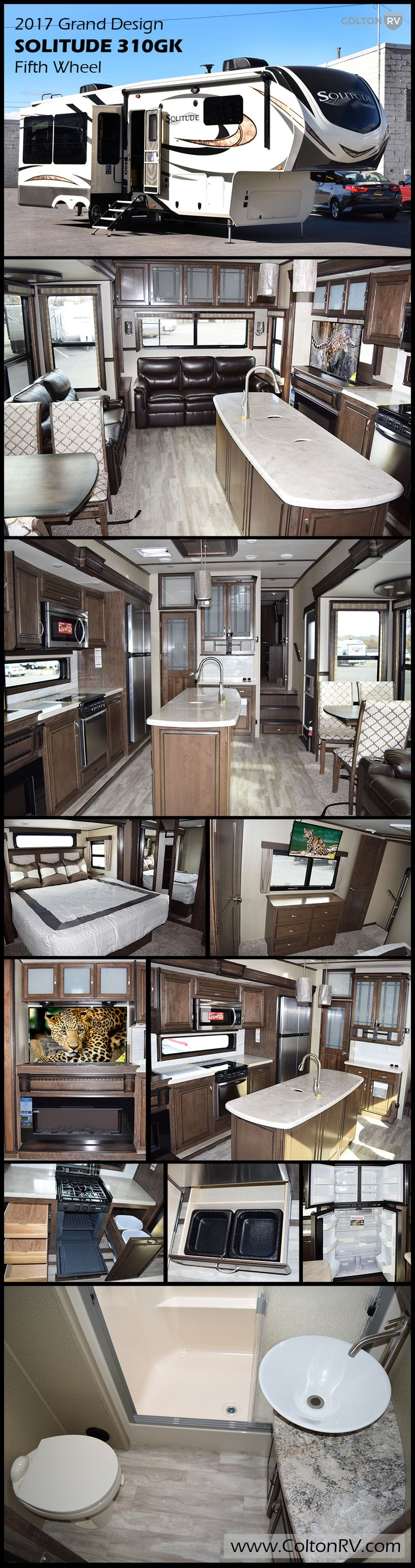 Enjoy camping in this GRAND DESIGN SOLITUDE 310GK fifth wheel, where you will find rear living layout, triple slides for added interior space, plus a convenient kitchen island with double sinks. Get cozy in the theater seating while you watch a movie on the telescoping TV with a cozy fireplace beneath. The tri-fold sofa along the rear wall is perfect for additional sleeping space. There is so much more in this RV you are sure to love!