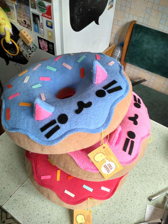 Cat Pillow  Kitty Cat Donut Pillow Plush-Pink-Free Shipping