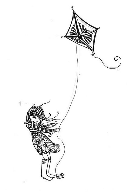 Girl flying kite tattoo by sherrisink - Sherri Dupree Bemis. One of my favorite singers and artists. Her style is so unique!