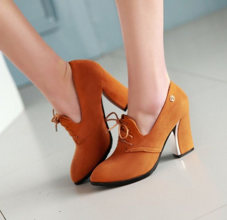 Pointed Toe Lace Up Women High Heels Chunky Heel Pumps 9090