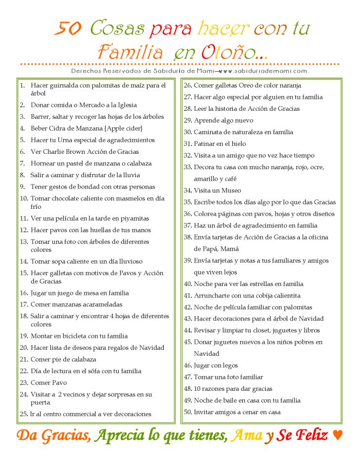 Sabiduría de Mami | 50 Cosas para hacer con tu Familia en Otoño | http://www.sabiduriademami.com