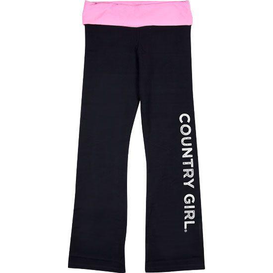 Country Girl Fold-Over Yoga Pants - CG Logo