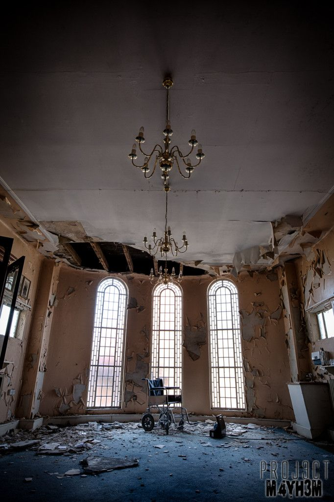 The interior of the abandoned Ark Synagogue, Liverpool, England.