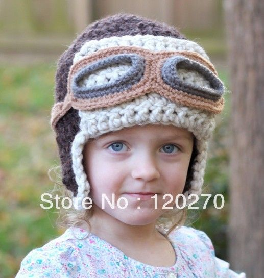 Free Shipping Handmade Crochet Aviator Hat Pattern Knitted Animal Cartoon Cap...