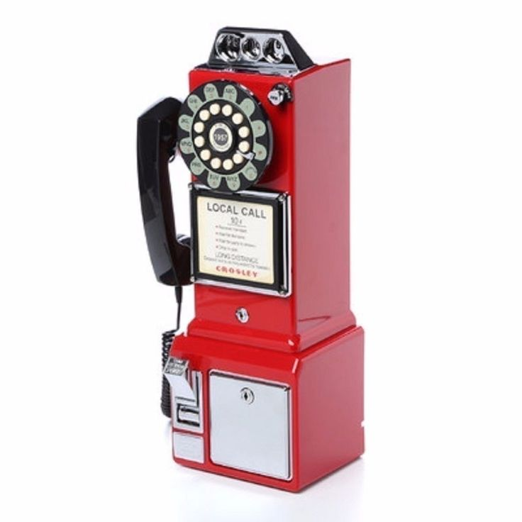 Red Telephone Antique Pay Phone Vintage Retro Old Kitchen Coin Collectors Gift