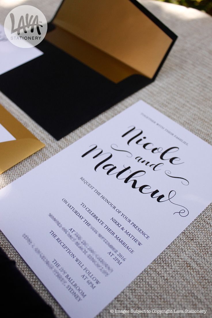 """The """"Nicole"""" black and gold invitation with custom wax seal from www.lavastationery.com.au"""