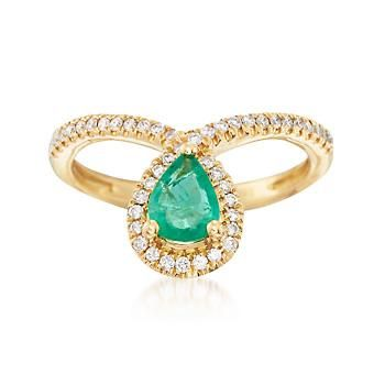 .70 Carat Emerald and .23 ct. t.w. Diamond Drop Ring in 18kt Yellow Gold