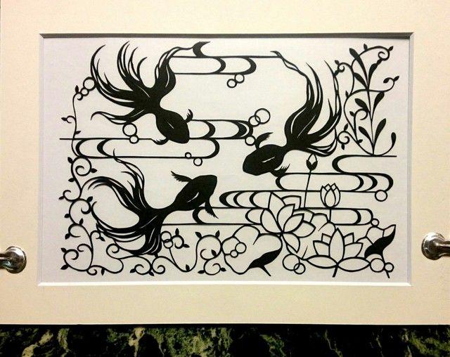 切り絵 蓮と金魚(黒色)Ver.4 原画