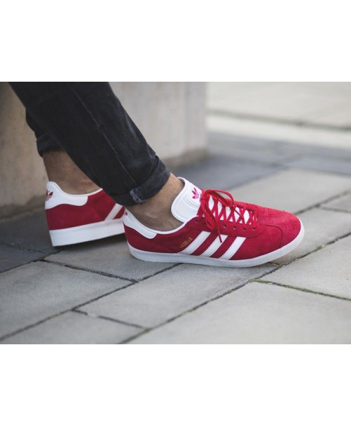 6f0c8f7442e970 Adidas Gazelle Mens Trainers In Red White