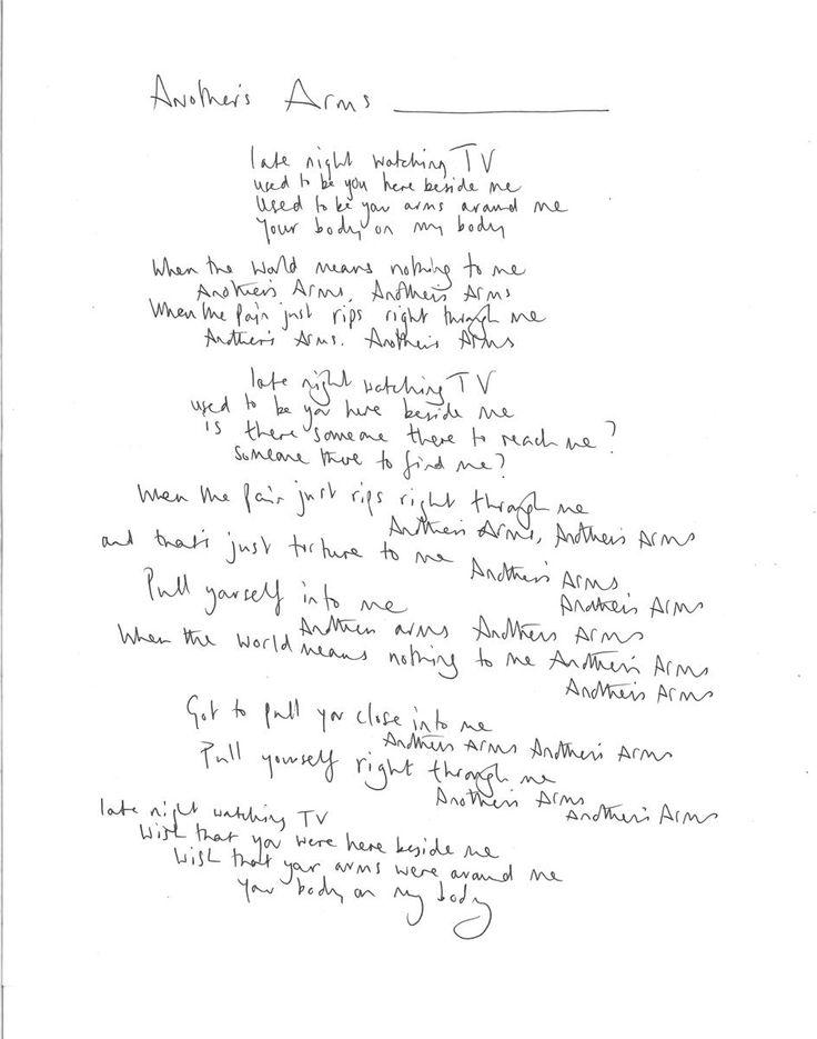 Another's arms Chris Martin´s handwritten lyrics