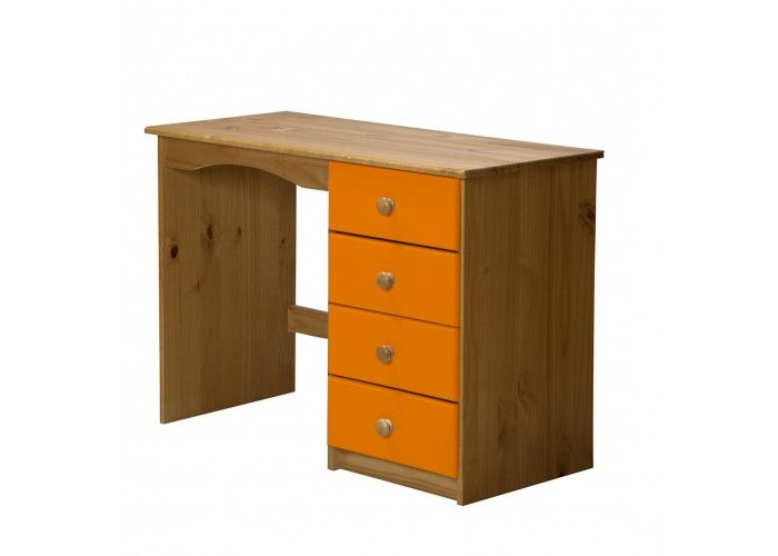 http://www.bonsoni.com/verona-4-drawer-dressing-table-antique-with-orange-details   Dressing table in solid pine. Single pedestal with four drawers.    http://www.bonsoni.com/verona-4-drawer-dressing-table-antique-with-orange-details