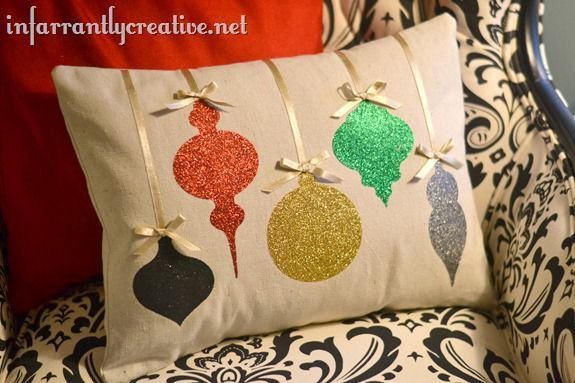 DIY Christmas Decorations | Add a little sparkle to your Christmas home decor with this Ballard-inspired ornament pillow!