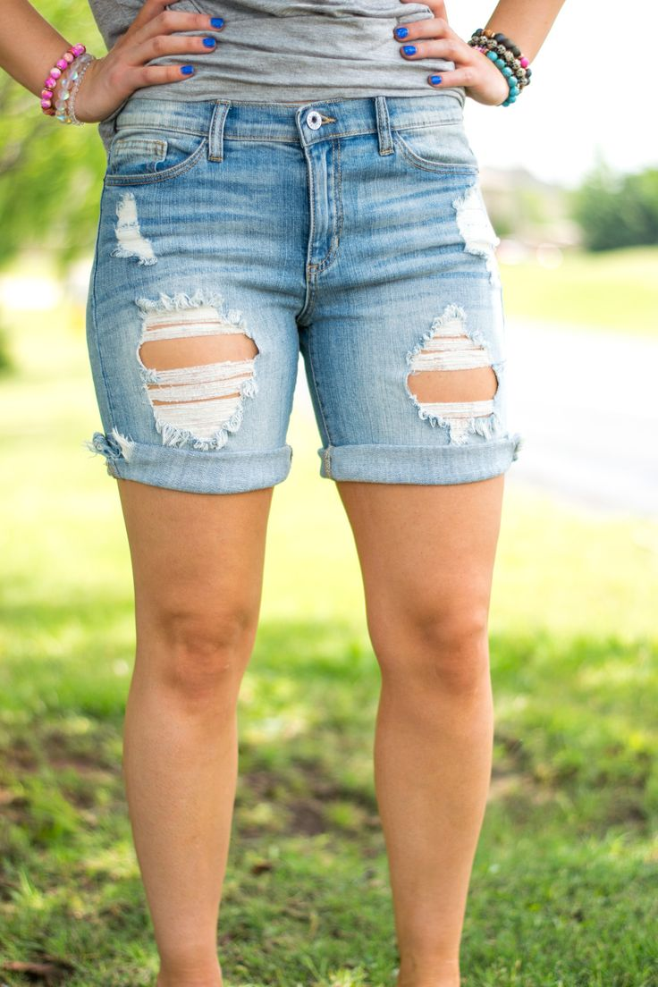 Distressed bermuda denim shorts. If you're searching for the perfect affordable pair of cute long length denim shorts your search is over! Lush Fashion Lounge women's boutique is known to carry cute,