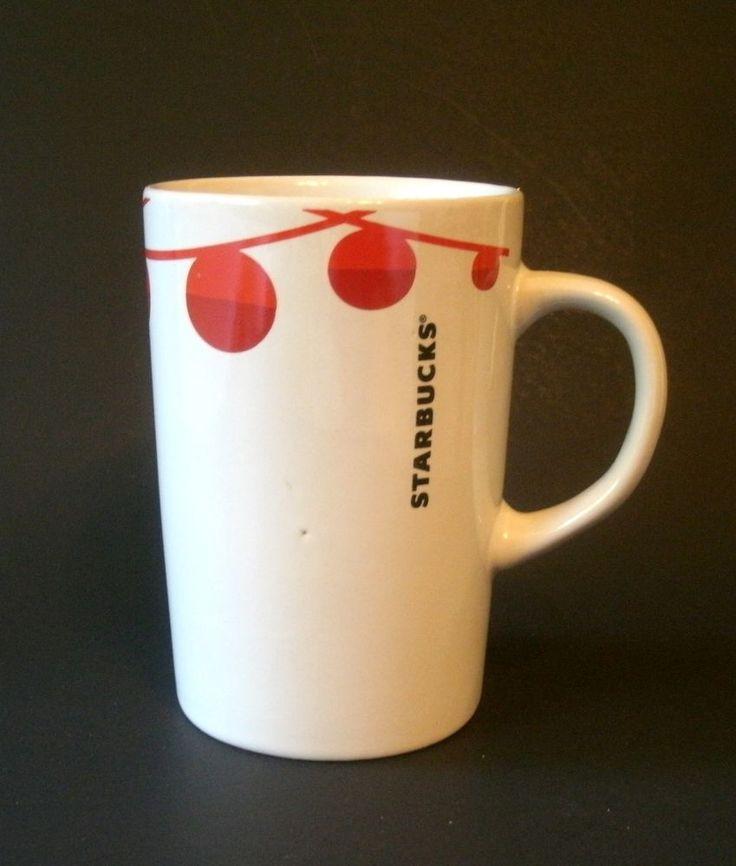 Starbucks Christmas Mug Cup White Red Ball Ornaments Lights #Starbucks