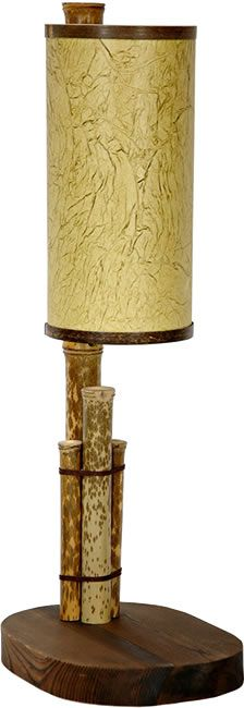 "21"" Thai Bamboo Lantern - An interesting and distinctive Asian table lamp in the ideal size to use as a desk lamp, next to a sofa or on a bedside table. The body of the lamp is an attractive configuration of rustic bamboo poles, mounted on a dark stained, oval shaped solid wood base. The shade is made of poly-reinforced pressed pulp paper with contrasted fibers with contrasting rings accent at the top and bottom - Oriental Table Lamps - Deep Discount Lighting"