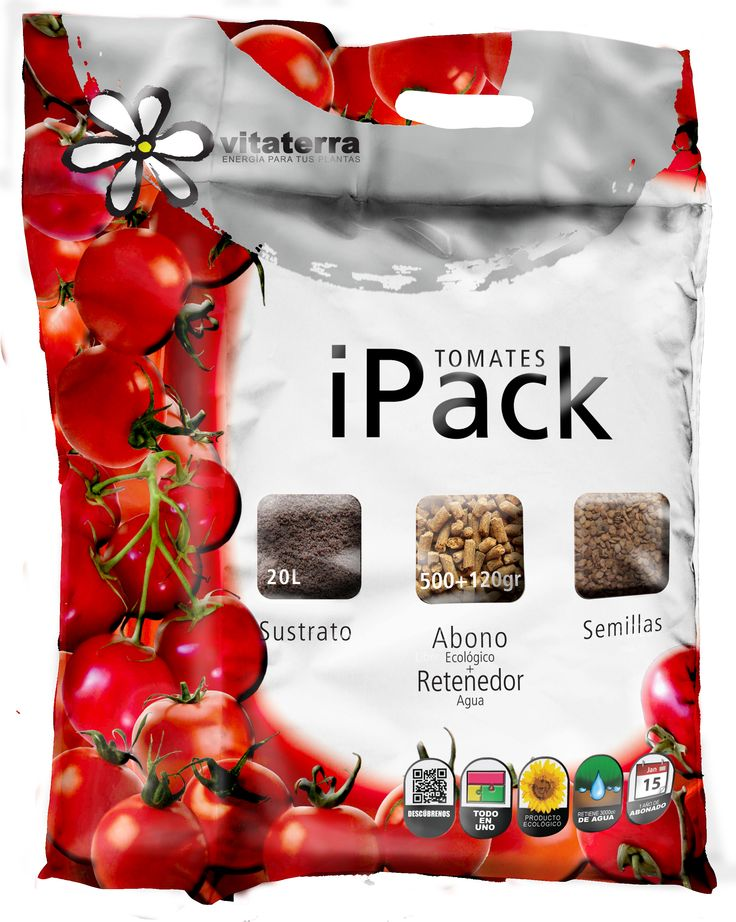 iPack Tomates. Sustrato+abono ecológico+semillas de tomate