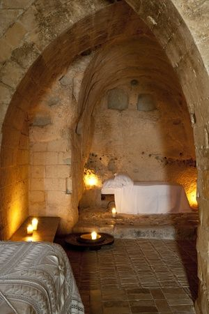 Rustic bedroom, Italy - Basiicata, Detail of a bedroom at Albergo Diffuso Le Grotte della Civita, Matera. photography by Stefano Scata