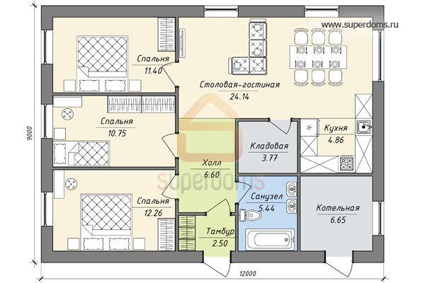 План 1-этажного дома 9 на 12 с гостиной, кухней, столовой и 2 спальнями  План 1-этажного дома 9 на 12 с двумя спальнями, кладовой при кухне и котельной  План 1-этажного дома 9 на 12 с тремя с