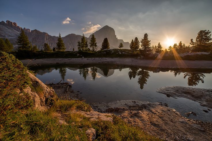 Sunrise in the dolomites Limides Lake