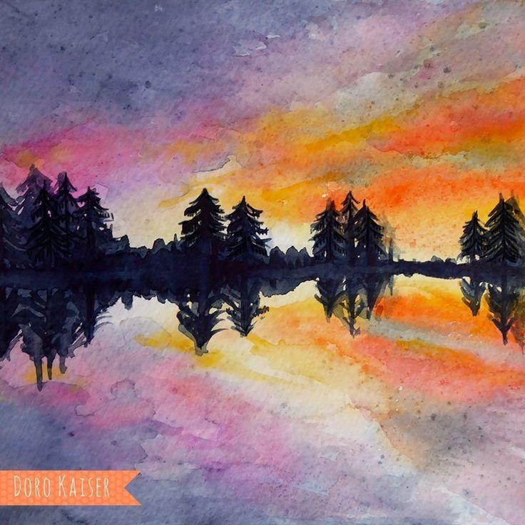 Malen Lernen Mit Aquarell Winterwald Malen Lernen Illustration