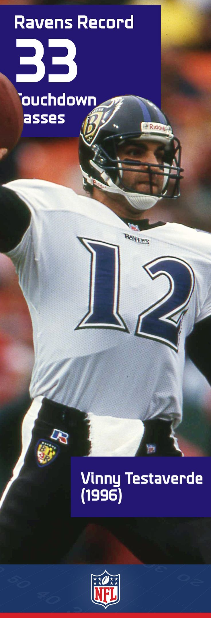 Vinny Testaverde racked up an amazing 21 seasons in the NFL, for an equally amazing 7 teams. One of his best performances though came in a Baltimore Ravens uniform, when he set the team record with 33 touchdown passes in 1996.