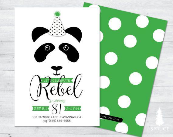 invitación de cumpleaños de Panda panda cumpleaños invitación