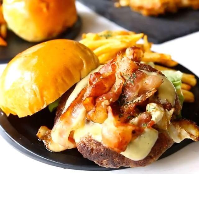 Lava Egg on Burger @ Workbench Bistro.