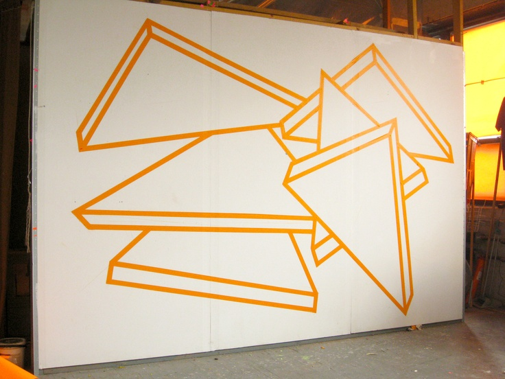 """Alex Menocal - Two Worlds Coming From My Eyes, tape, 12'3""""x7'6"""", 2010;  via his blogsite."""