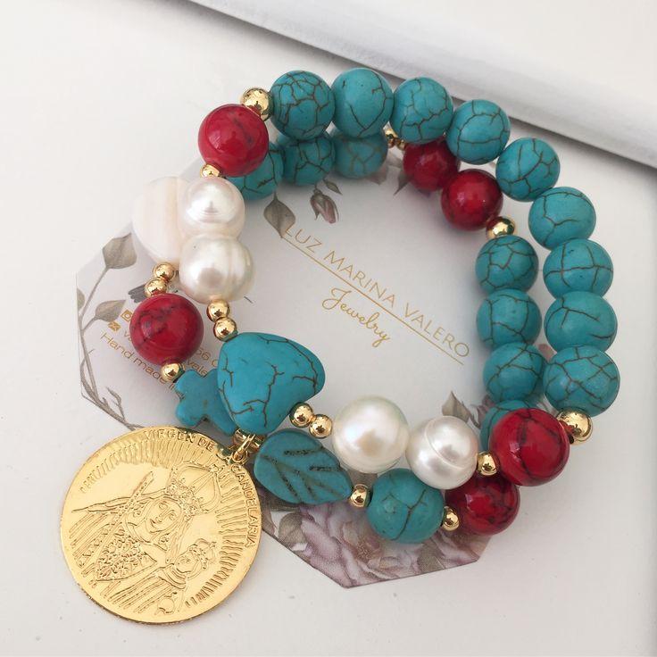 Set de pulseras piedra fósil y perlas by Luz Marina Valero