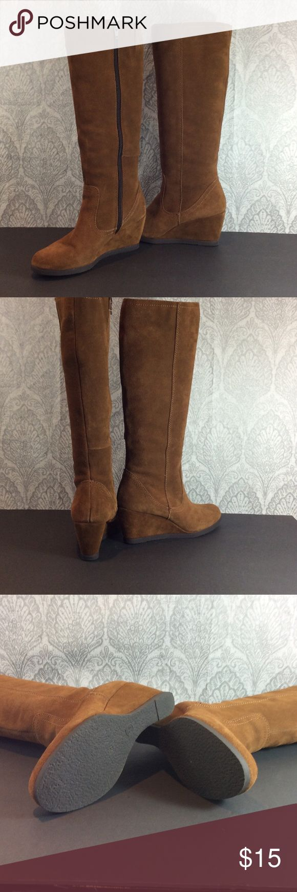 """Cognac SUEDE KNEE HIGH Boots SZ 8.5 .. 2.5"""" wedge Suede boot measures 17"""" high from bottom of wedge .. worn once target  Shoes Wedges"""