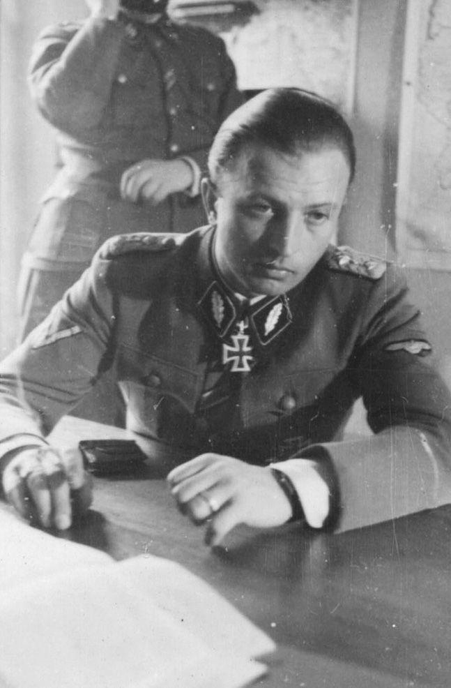 ✠ Hermann Fegelein (30 October 1906 – 28 April 1945) Married Eva Braun's sister. In the terminal days of the Third Reich Down in the bunker Hitler noticed he was missing and had the SS sent out to find him. His excuse was insufficient he was shot for desertion. Today he figures on youtube in the Hitler rants as the man WHO could not be killed.