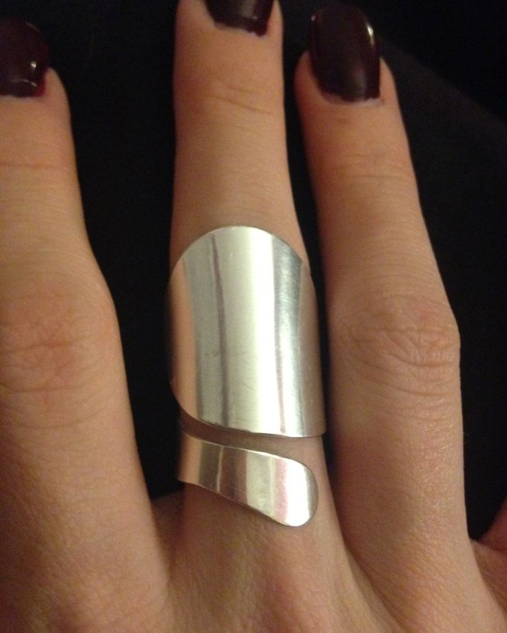 Adjustable size. Handmade Sterling Silver Contemporary Statement Ring - Holiday gift.   Ring is tapered on the inner part of the  finger for a comfortable fit.