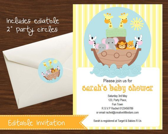 Super Cute Noahs Ark Printable Invitation.    Announce your birthday party or baby shower with this fun printable editable DIY invitation.