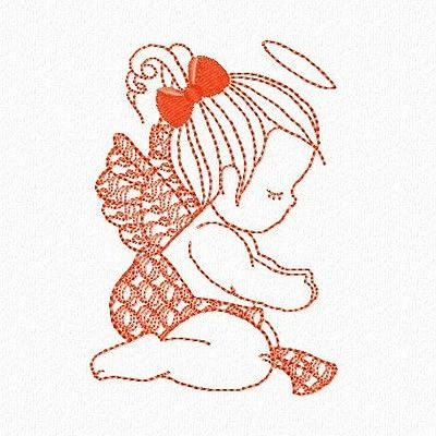 BABY ANGELS REDWORK #Embroidery