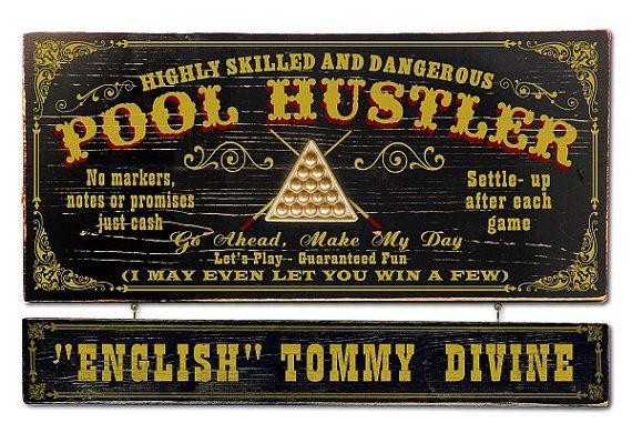 Pool Hustler Rack Balls Vintage Plank Nameplate Sign by KandKSales