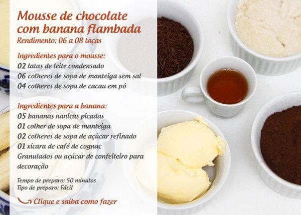 Mousse | Mousse de chocolate com banana flambada - Yahoo Mulher