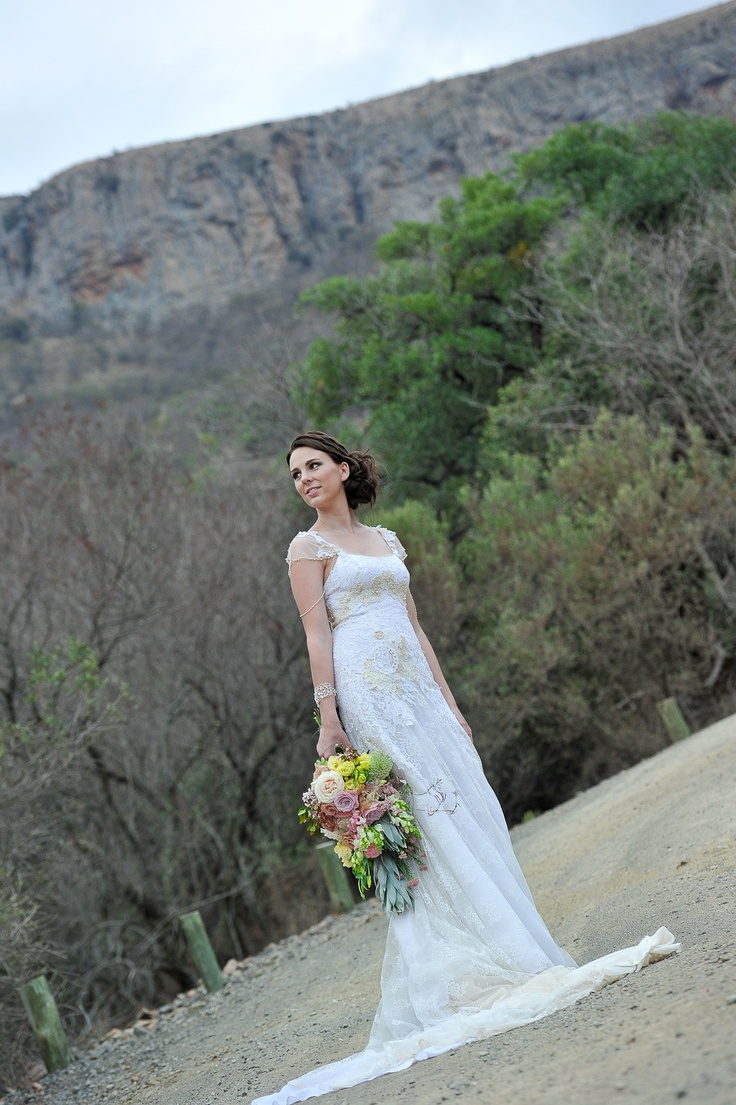 Eco-friendly wedding dress made from vintage lace, organic yarn for crochet motifs and other organic cotton pieces #EcoBride