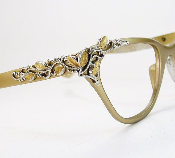 vintage 50s gold horn rim cateye with leafy accents eyeglasses eyewear frame tura