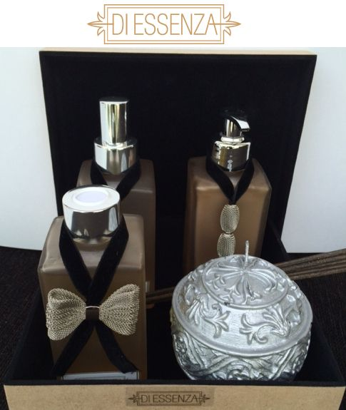 Kit Eleganza (home spray, difusor, sabonete líquido e vela aromatizada) em caixa de madeira aveludada - impossível não agradar!