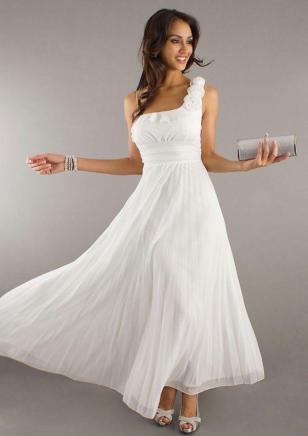 A-line/Prinsesse Ene Skulder Ankel-længde Chiffon Bryllup Part Kjoler