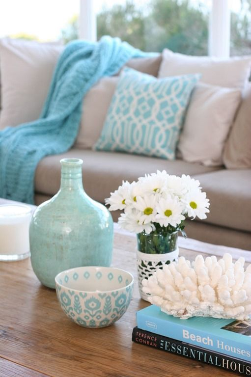 beige and turq1 - Turquoise Home Decor