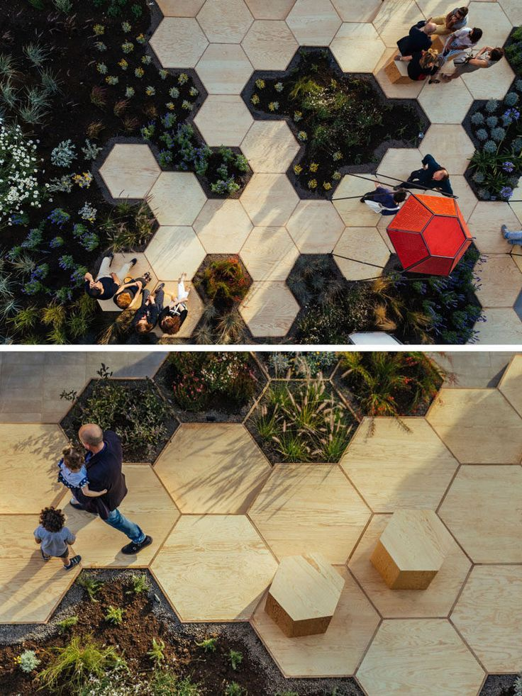 This urban garden, named Zighizaghi, is a multi-sensory garden made of two levels, a horizontal level, the hexagonal floor and seating area, and a vertical level, the lighting and sound systems. There's also numerous plants included in the design, like lemon trees and lavender. #ad