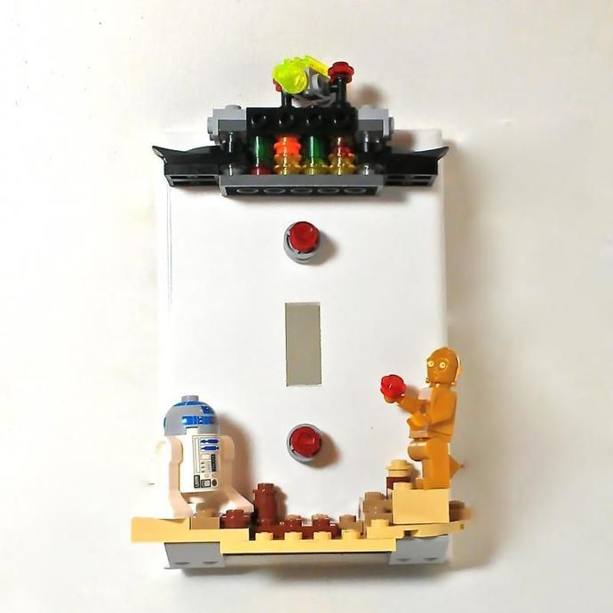 Star Wars R2d2 And C3po Switchplate In 2019 Lego Room Decor Lego