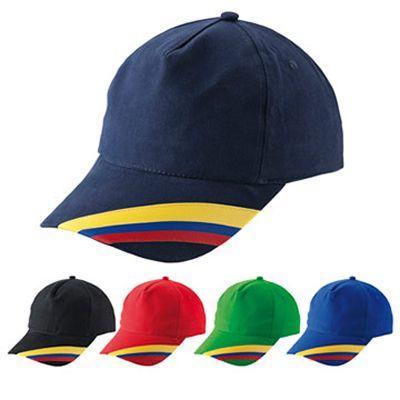 CACHUCHA COLOMBIA REF:CH-19   5 Cascos en Dril.  Visera Indeformable con Bandera de Colombia.  Botón Forrado.  Encintado Interior.  Tafilete Absorbente en Poliéster.  Cierre de Velcro.  Tipo de Producto: IMPORTADO  Área de Marca: 7 cm ancho x 4 cm alto  Técnica de Marca: Bordado.  Colores Disponibles: Rojo, Azul Oscuro, Azul Rey, Verde y Negro.