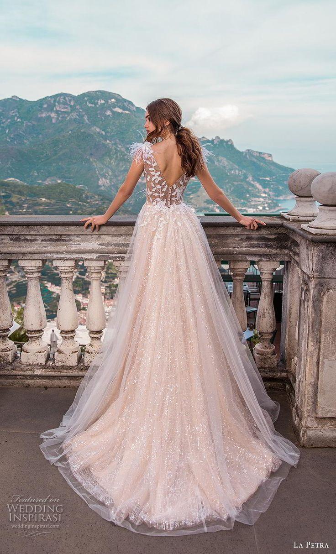 la petra 2019 bridal sleeveless v neck heavily embellished bodice romantic blush…