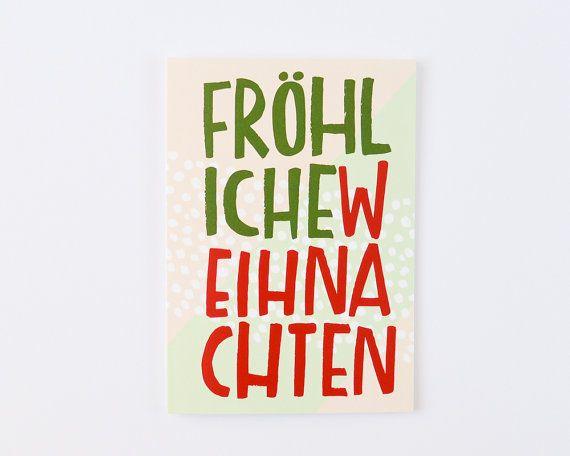 Fröhliche Wohnaccesoires handgezeichneten deutschen Weihnachtskarte