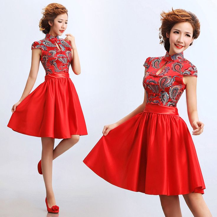 Blue paisley pattern red brocade Chinese modern qipao cheongsam wedding dress 001