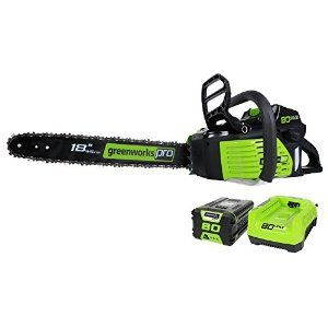 GreenWorks Pro GCS80420 80V 18-Inch Cordless Chainsaw, 2Ah Li-Ion Battery and Charger Included : Patio, Lawn & Garden