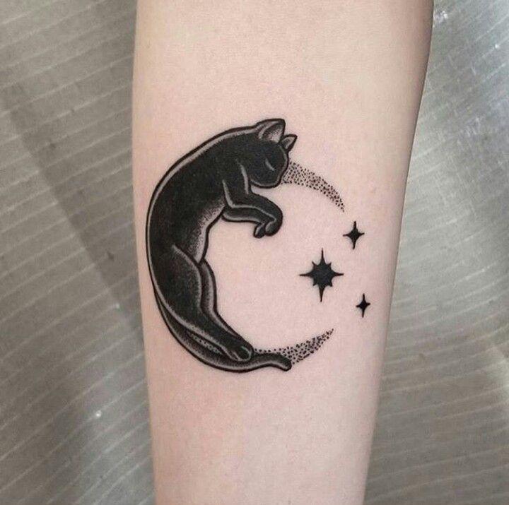 Cat Moon Tattoo Idee Per Tatuaggi Tatuaggi Tatuaggi Di Gatto Nero