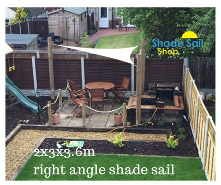 Our small right angle shade sails are perfect for small areas.